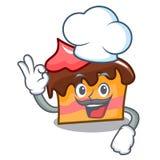 Chef sponge cake character cartoon. Vector illustration Royalty Free Stock Photo