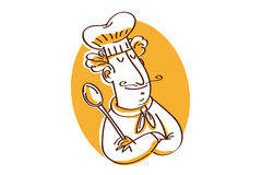 Chef with spoon. A chef arms crossed and satisfied Royalty Free Stock Photo