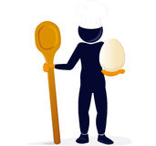 Chef with a spoon and an egg Stock Image