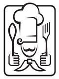 Chef with spoon and fork. Monochrome chef with spoon and fork Royalty Free Stock Images