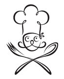 Chef with spoon and fork Royalty Free Stock Photo
