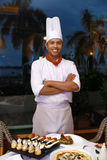 Chef standing. At restaurant smiling royalty free stock photos