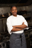 Chef Standing Next To Cooker In Kitchen. Female Chef Standing Next To Cooker In Restaurant Kitchen stock photography