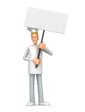 Chef standing with placards on the picket Stock Photos