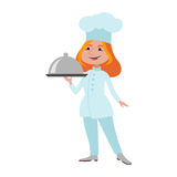 Chef standing woman cook vector. royalty free illustration