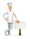 Chef stands beside the blank board Stock Image
