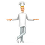 Chef stands next to a blank place Stock Photos