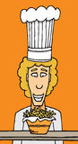 Chef staring at fries. Chef staring at bowl of fries Royalty Free Stock Images