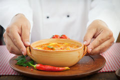 Chef with stew Stock Photography