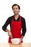 Chef stirring bowl Stock Photo