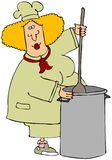 Chef Stirring A Large Pot. This illustration depicts a female chef stirring a large stock pot Royalty Free Stock Photos