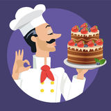 Chef with strawberry and blueberries cake Royalty Free Stock Photos