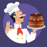 Chef with strawberry cake. High quality original trendy vector chef with strawberry cake Stock Photos
