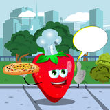 Chef strawberry holding pizza with attitude in the city park with speech bubble Stock Photo