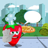 Chef strawberry with pizza holding a stop sign in the city park with speech bubble Stock Image