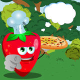 Chef strawberry with pizza pointing at viewer in the forest with speech bubble Royalty Free Stock Images