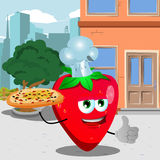 Chef strawberry with pizza showing thumb up in the city Stock Photo