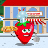 Chef strawberry with pizza showing thumb up in front of a restaurant Royalty Free Stock Photo