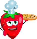 Chef strawberry showing a delicious pizza Royalty Free Stock Photos