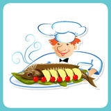 Chef with sturgeon Stock Photography