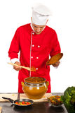 Chef taking food from pot Royalty Free Stock Photography