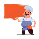 Chef with talking bubble for presenting -. Illustration royalty free illustration