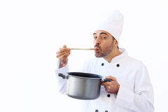 Chef Taste Soup Stock Photos