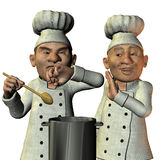 Chef tasted salty soup. 3D Rendering Chef tasted salty soup Royalty Free Stock Photo