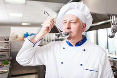 Chef tasting food Stock Photography