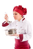 Chef tasting her food Royalty Free Stock Photography