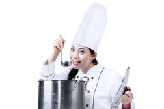 Chef tasting isolated on white Royalty Free Stock Images