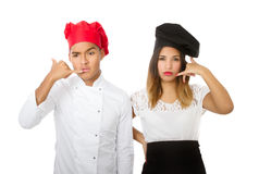 Chef team answering phone Royalty Free Stock Image