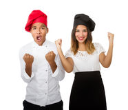 Chef team arms up. Person emotions and expressions portrait royalty free stock photography