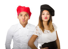 Chef team blowing and kissing. Person emotions and expressions portrait royalty free stock image