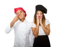 Chef team made faces for joke. Person emotions and expressions portrait stock photography