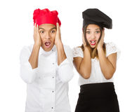 Chef team screaming. Person emotions and expressions portrait stock image