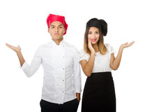 Chef team showing empty space Stock Photo