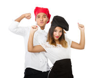 Chef team success gesture. Person emotions and expressions portrait royalty free stock photography