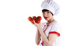 Chef tenant les tomates mûres photo libre de droits