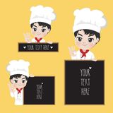 The chef holds a sign at the front of the shop. royalty free illustration