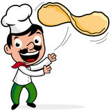 Chef throwing pizza dough. Vector illustration of a cartoon Italian chef making a pizza, tossing pizza dough Stock Photos