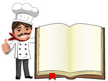 Chef thumb up gesture blank cook book isolated Stock Photography