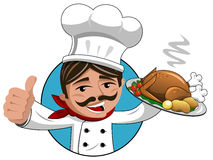 Chef thumb up roasted turkey tray isolated Stock Photo
