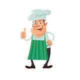 Chef thumb up. Vector character of master chef or baker giving thumb up vector illustration