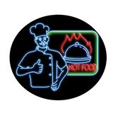 Chef Thumbs Up Hot Food Oval Neon Sign. Retro style illustration showing a 1990s neon sign light signage lighting of a chef, cook or baker with thumbs up beside royalty free illustration