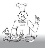 Chef tips. Hand drawn illustration of a chef suggesting tips for cooking Stock Photo