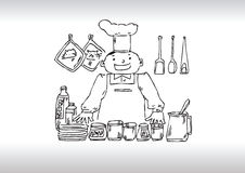 Chef tips. Hand drawn illustration of a chef suggesting tips for cooking Stock Photography
