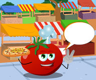 Chef tomato with pizza gesturing the peace sign on the market with speech bubble Stock Photography