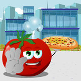 Chef tomato with pizza holding a stop sign in the city Royalty Free Stock Photography