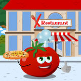 Chef tomato with pizza showing thumb up in front of a restaurant Royalty Free Stock Photography